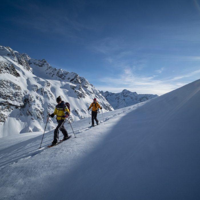 Schneeschuhtour, Winnebachseehuette, Stubaier Alpen, Tirol, Oesterreich.
